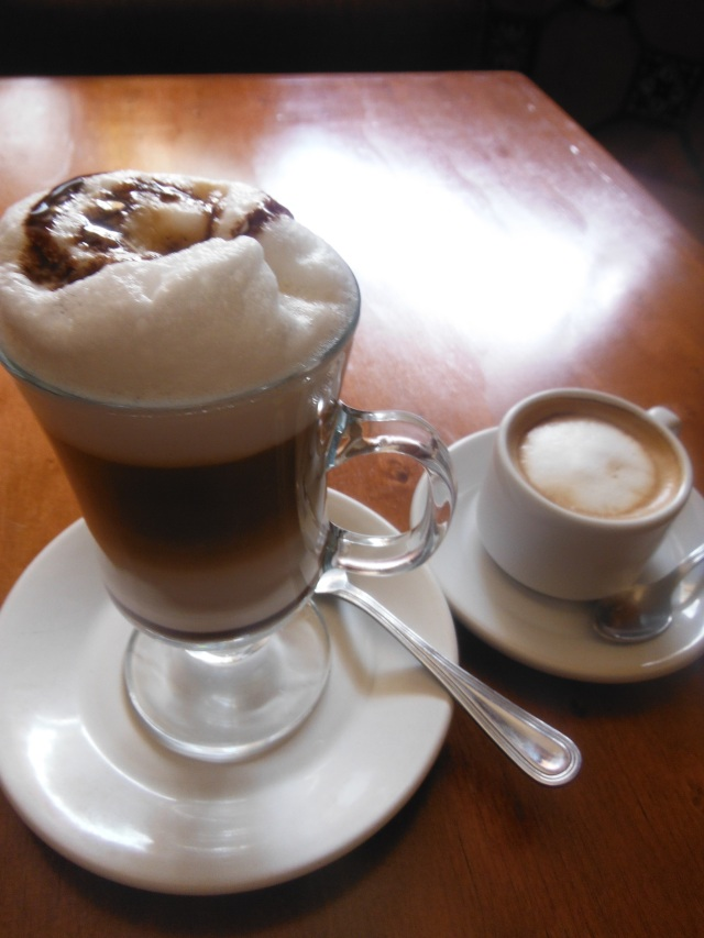His dinky macchiato (made from Oaxaca beans) next to my yummy moka caliente.  We both enjoyed.