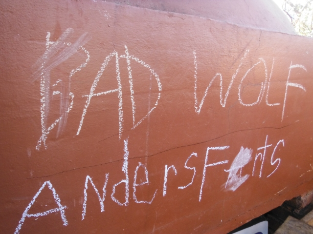 Bad Wolf written in chalk all over the place, but our sweet Anders had to add his own colourful touch.
