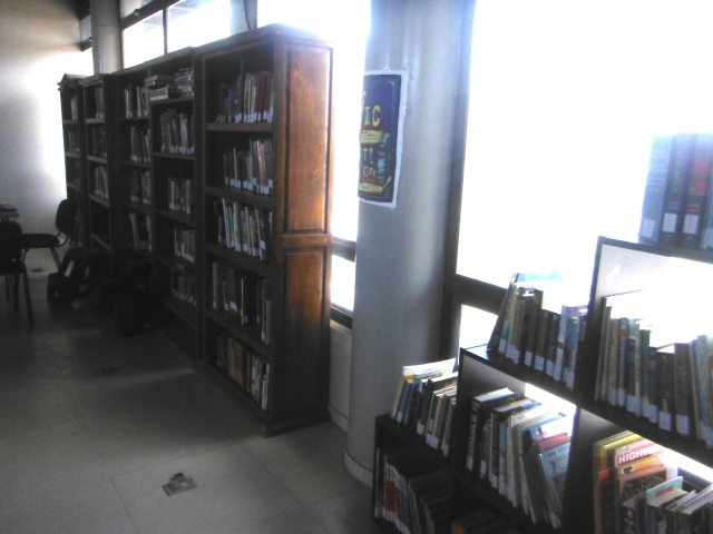Library.  What you see is what you get.  That's all the library shelves they have.  Donations accepted.