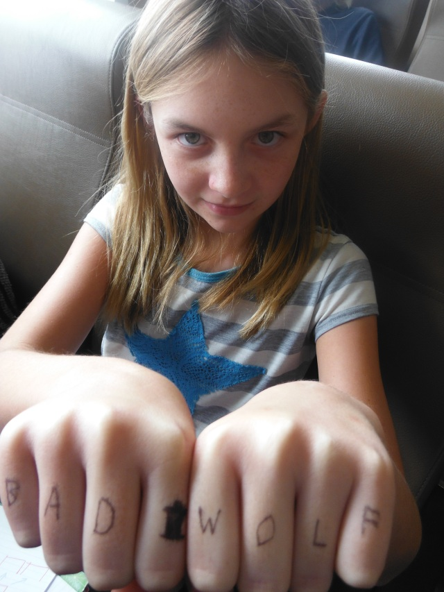 Danaka wrote messages on the kids fingers