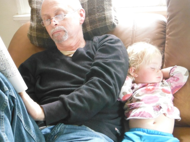 Napping beside Grampa