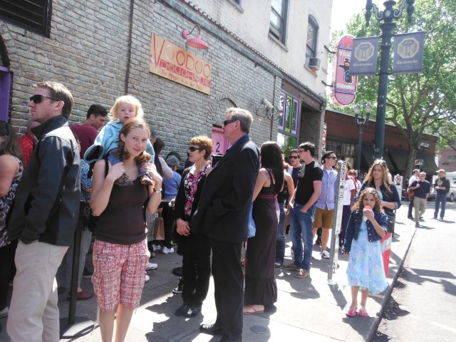 Line up outside of Voodoo Donuts.  About a 40 min wait.