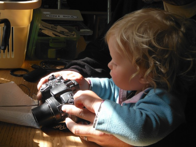 'Helping' Grampa fix his camera.