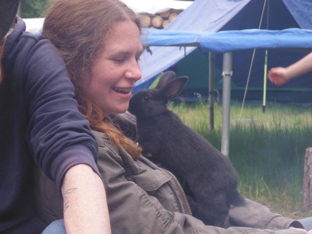 Layne enjoying one of the bunnies...
