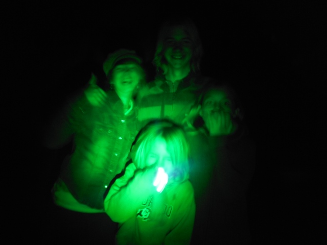 The green glow of a headlamp was the only trust worthy source of light our group had.