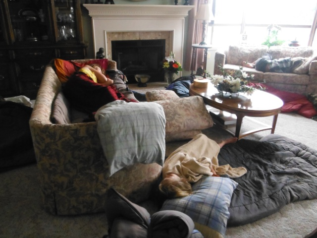 Kids sleeping everywhere.