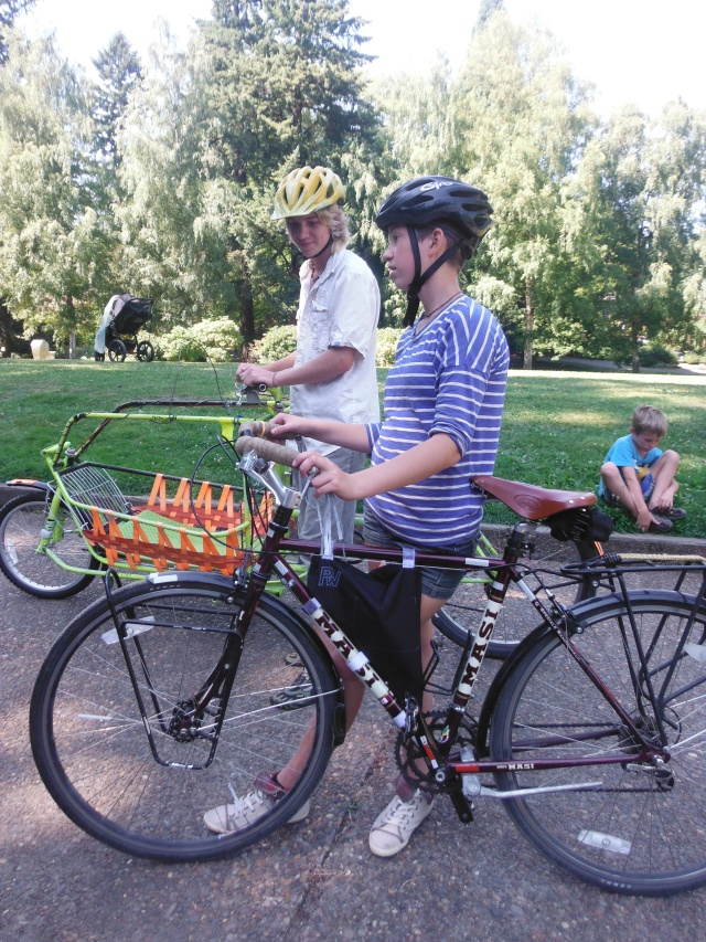 M&M familiarizing themselves with bikes.  Safer riding them in the park than out on the streets, to begin with.