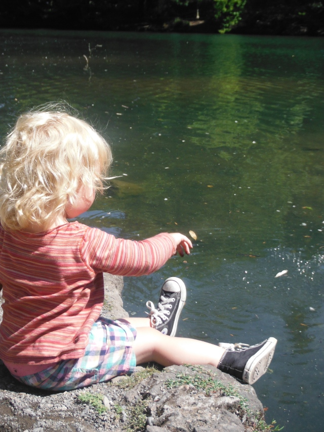 Marin could throw gravel into the pond for hours, even in the heat of the sun.
